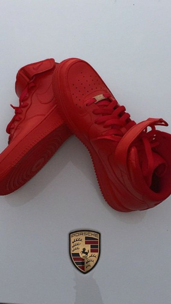 Most Popular Custom Red Nike Air Force 1 by YvetteCouture on Etsy