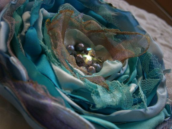 Fabric flower in blue with pearls and crystals Bridal by Flowears, $17.20