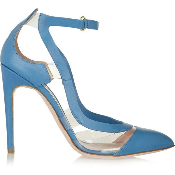 Rupert Sanderson Tatua PVC-trimmed leather pumps ($300) ❤ liked on Polyvore featuring shoes, pumps, heels, light blue, leather shoes, high heel shoes, pointy toe ankle strap pumps, leather pointed toe pumps and velcro shoes