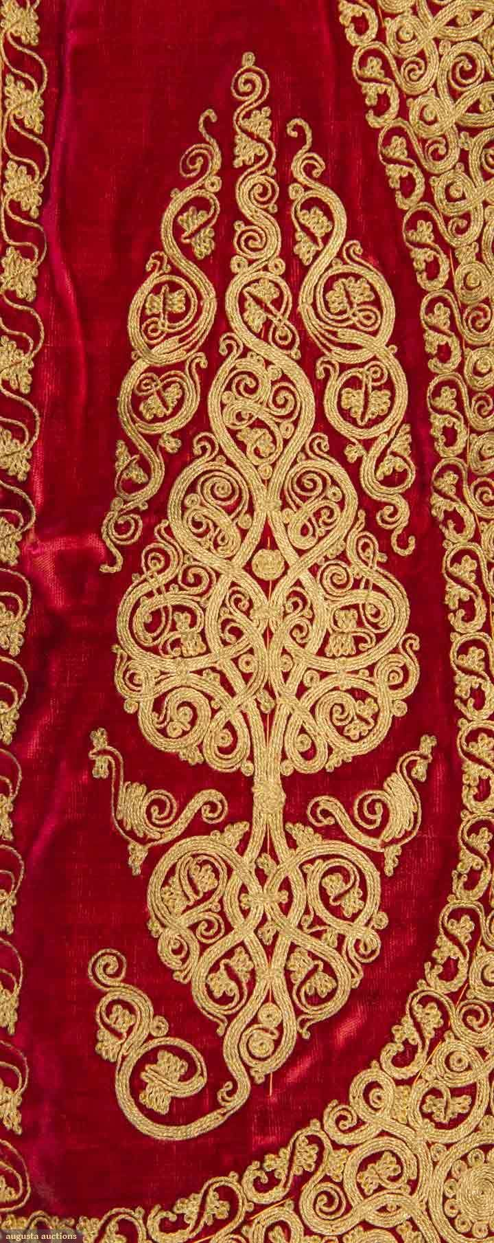 Couched gold threadwork on a jacket from Albania, 1840-1899.