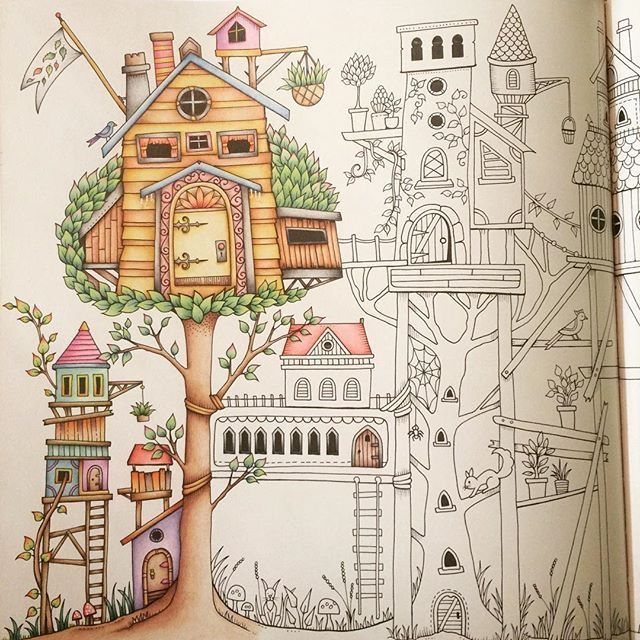 Colour Schemes Adult Coloring Johanna Basford Secret Garden Prismacolor Treehouses Doodles Enchanted Forest Maryland Book Chance Forests