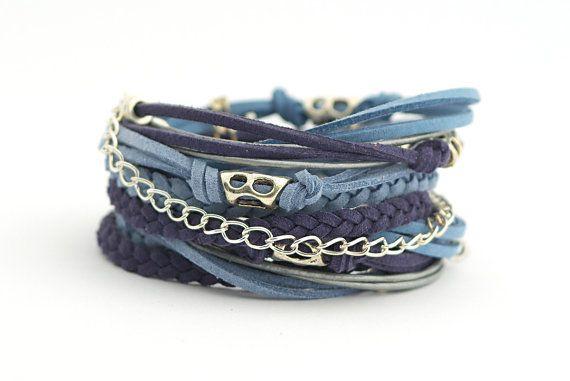 Navy Blue Denim Boho Bracelet Riverside Airy Blue by cardioceras