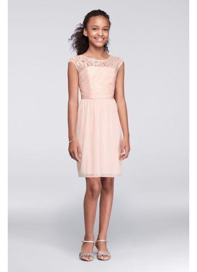 32f2eb12b7d Mesh and Metallic Lace Cap Sleeve Girls Dress Style JB9477M