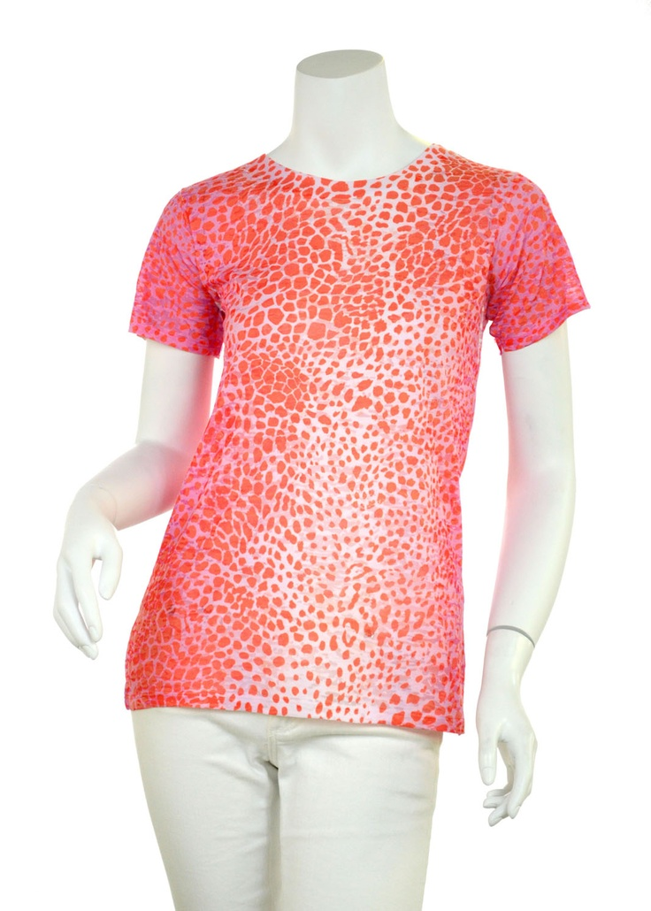 Cheetah Orange (7279) ) Sheer Short Sleeve Crew T-shirt