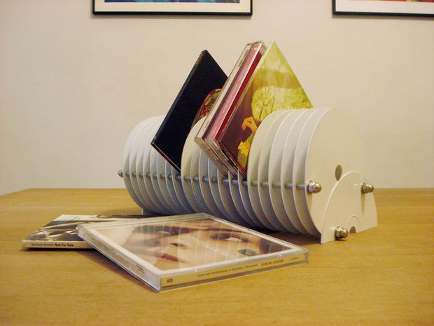 Picture of CD stand made from old discarded CDs