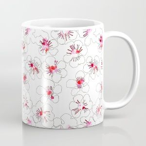 Onebee | Society6 Mug with tea flower pattern. Pattern was painted with watercolors and ink. Clean and minimalistic.