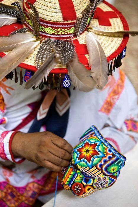 Mexico - huichol art, tiny beads on a jaguar head.