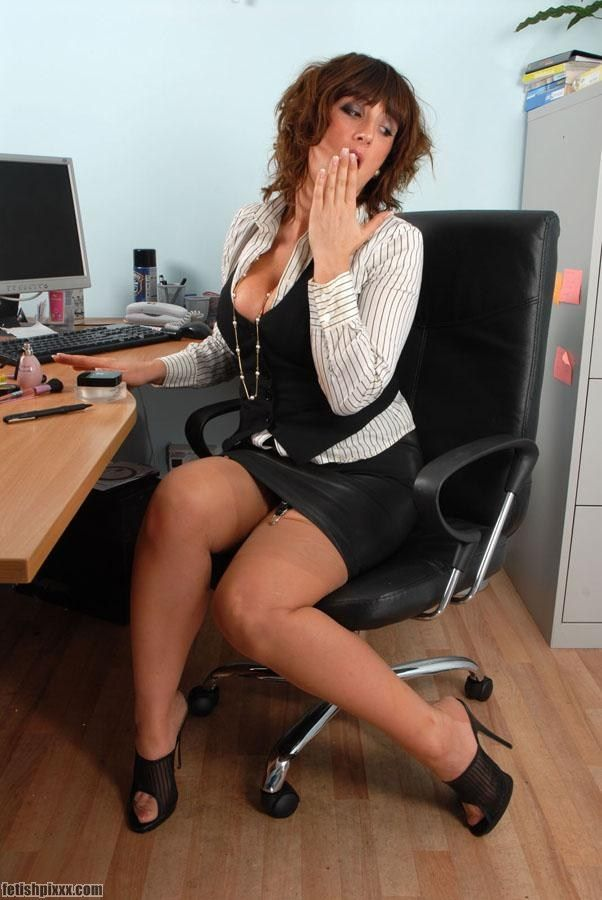 Jenny In Office Wearing Tan Nylons And Mules Fashion
