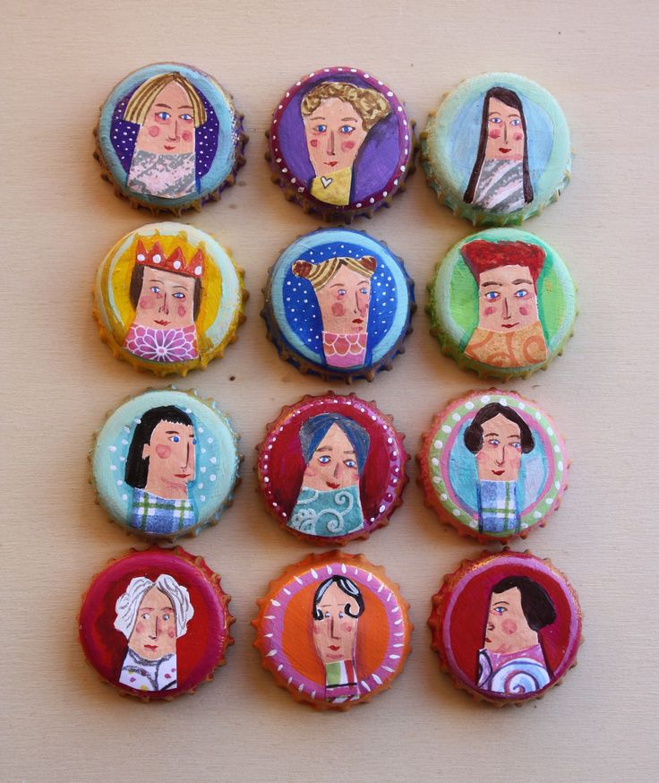 'Characters Awaiting a Story.' Acrylic and mixed media on bottle tops. Ginny Rose, 2015