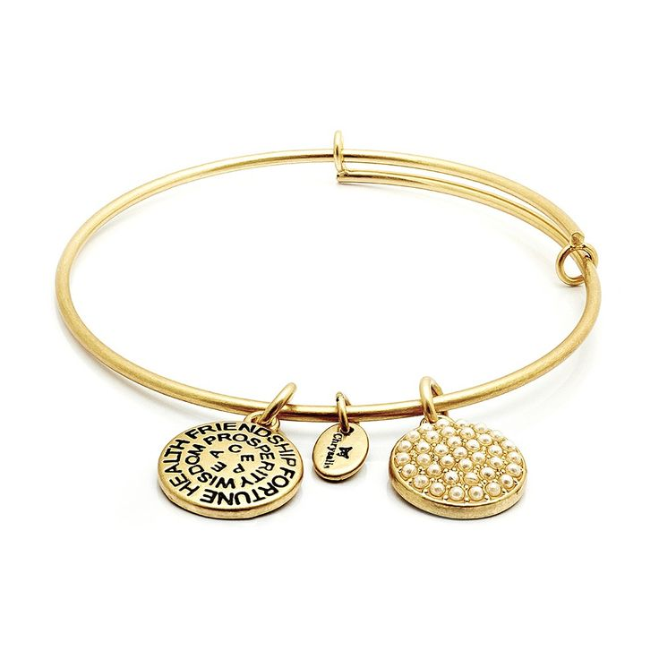 Chrysalis Jewelry Glass Pearl Swarovski Crystal Adjustable Bangle 14k Gold Plate