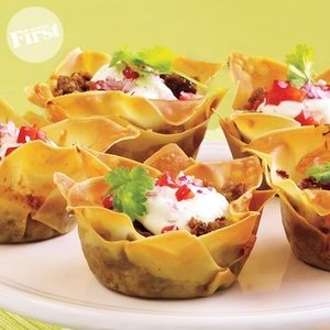 Mini Tacos - Instead of taco shells use wanton wrappers. Put them in a ...