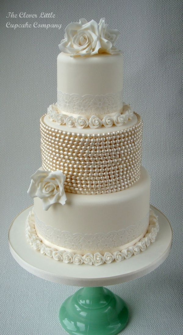 Vintage Lace and Pearl Wedding Cake - Love this! I would make something like this for my own wedding. Kudos to the baker for the pretty, monochromatic simplicity.