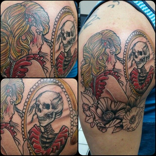 #mirror, #skull, #girl, #reflection, #fenton, #tattoo, # ...