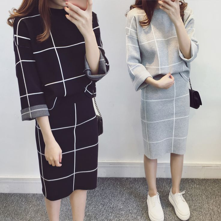 2016 autumn korean Women's suits two piece Set pullover Knitted long sleeve Tops+Skirts plaid Suit women Winter Suit clothing