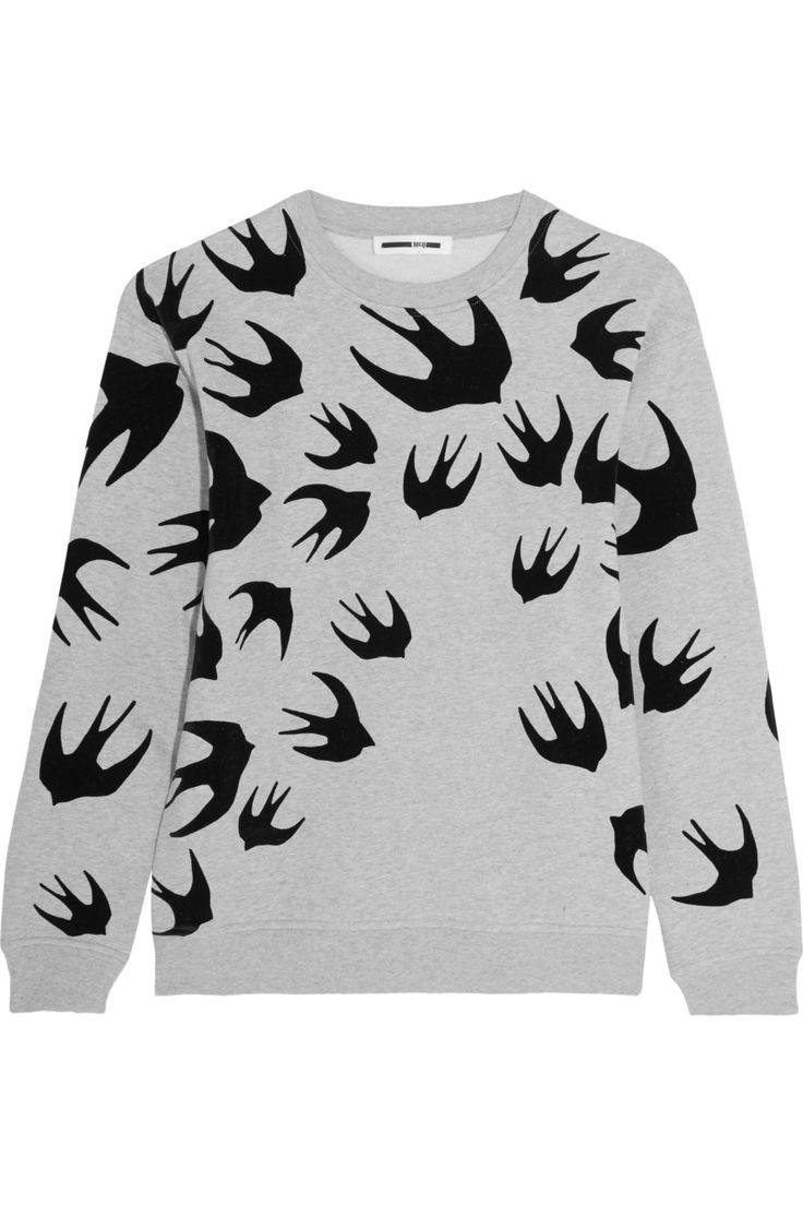 McQ Alexander McQueen | Flocked cotton-blend terry sweatshirt | NET-A-PORTER.COM