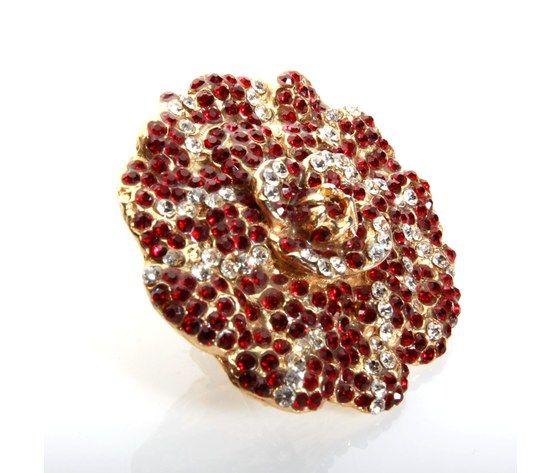 Golden camelia brooch red crystal strass - Spilla camelia dorata strass rosso cristallo