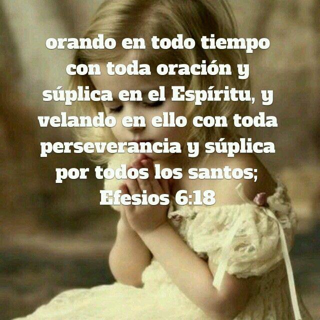Orando en todo tiempo Con toda oración y Súplica en el Espíritu, y Velando en ello con  Toda perseverancia  Y súplica por todos Los santos;  Efesios 6:18