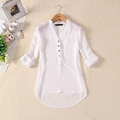 Women's V-neck chiffon Three Color Shirt - USD $ 10.00
