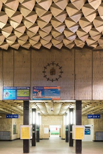 Contemporary documentation of Toruń Main Railway Station, 2014; Interior designer: Romuald Drzewiecki, Zdzisław Kulikowski; Toruń, 1965; Photagrapher: Tytus Szabelski Interior not preserved; #architecture #polish #modern #interiorarchitecture #design #railwaystation #toruń
