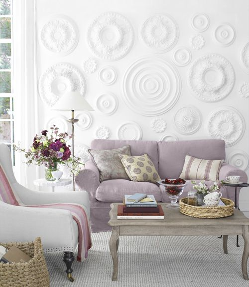 The secret to this subtle yet super-stylish wall treatment? Ceiling medallions!   # Pinterest++ for iPad #