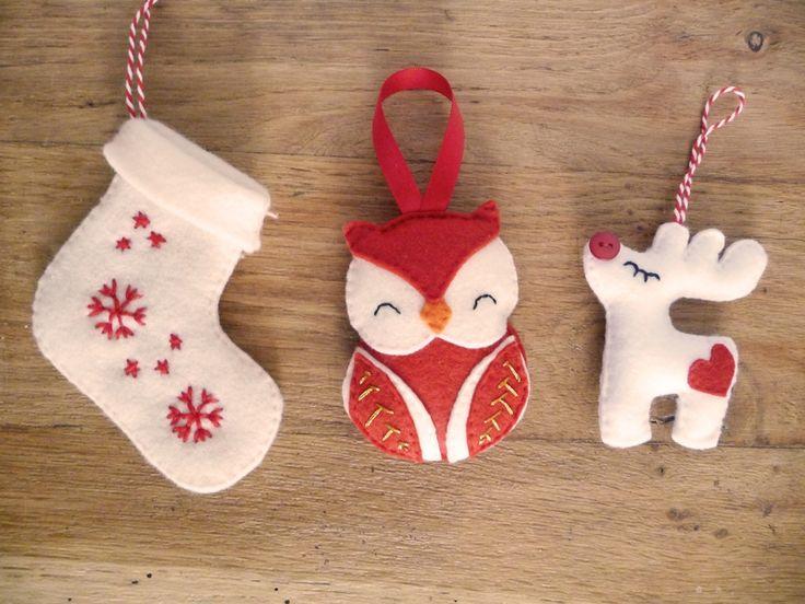 Christmas felt ornaments (stockong, owl, reindeer) by Les Boutiqueuses (décorations de Noël en feutrine : chaussette, hibou, renne)