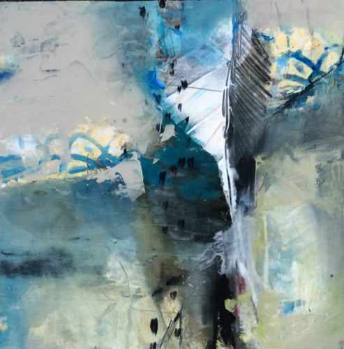 """Abstract Artists International: Contemporary Abstract Landscape Painting """"Landscape with Feather"""" by Intuitive Artist Joan Fullerton"""