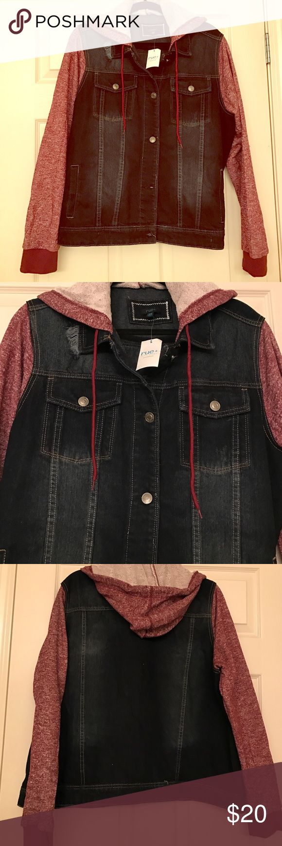 """✨FLASH SALE✨ NWT Hooded Jean Jacket! - plus Cute, hooded jean jacket from Rue 21!  Hood and sleeves are a heavier sweatshirt material.   Denim has a little of that """"destroyed"""" look.   Adorable coat, just doesn't fit me right. Rue 21 Jackets & Coats Jean Jackets"""