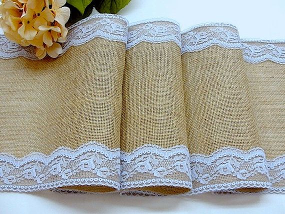 Burlap Table Runner With Placid Blue Italian Lace, Wedding Table Runner, Rustic  Tablecloth , Handmade In The USA