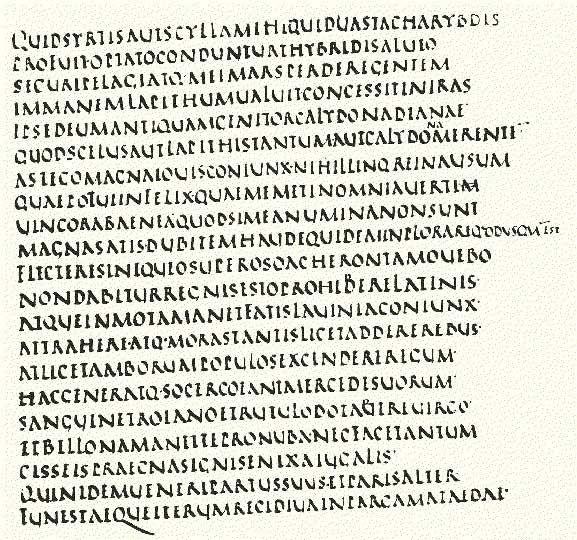 Capital rústica (s.I_VI).  Vergilius Augusteus sive Dionysianus, Bibl. Ap. Vat., cod. Vat. lat. 3256, fol. 3v (Georgicon, I, 141-154) Cfr. F. Ehrle - P. Liebaert,Spec...