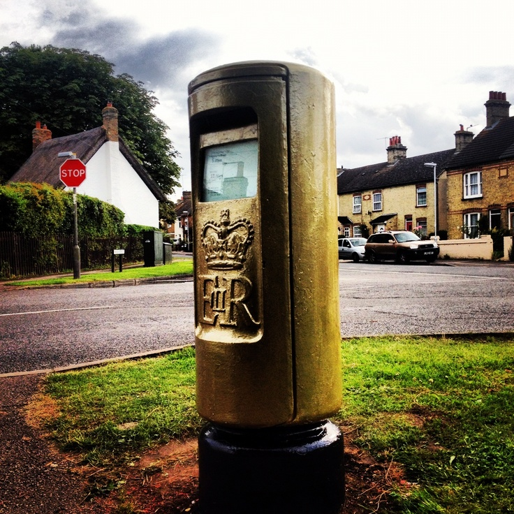 Olympic gold post box for Victoria Pendleton in Stotfold England.