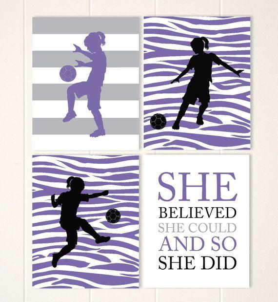 Soccer girl wall art, zebra girls art, girls motivational quote, custom girls room decor, teen girl wall art, sports art, Set of 4 prints
