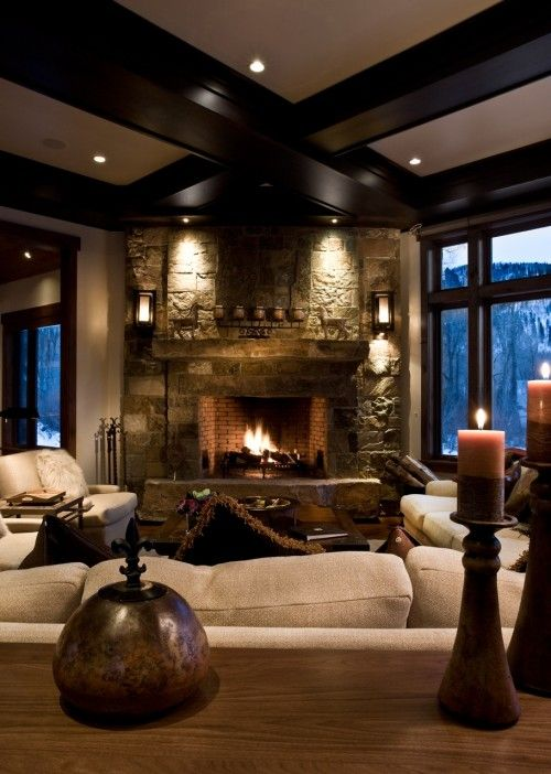 cozy living room with a fire place, and that sweet ceiling with the  beams,,,love. Find this Pin and more on Interior Design FirePlace ...
