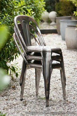 tolix chairs. my favorite kind of chair for a rustic farm table.