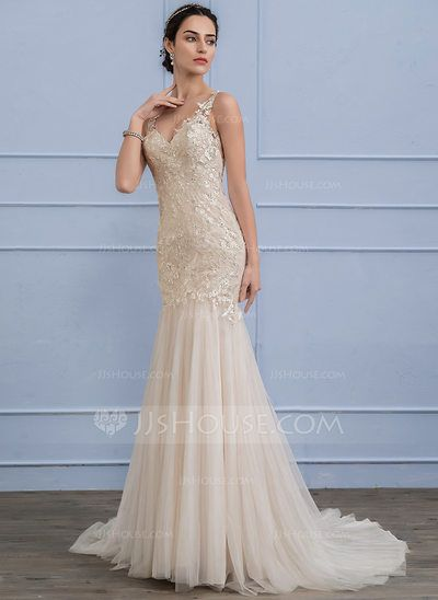 [US$ 316.69] Trumpet/Mermaid V-neck Court Train Tulle Lace Wedding Dress With Beading Sequins