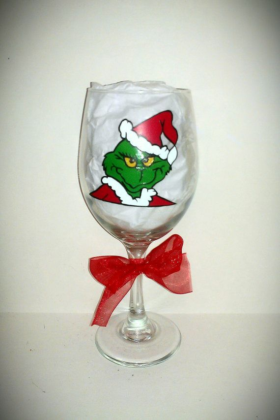 The Grinch Hand Painted Glassware By Kraftymamaboutique
