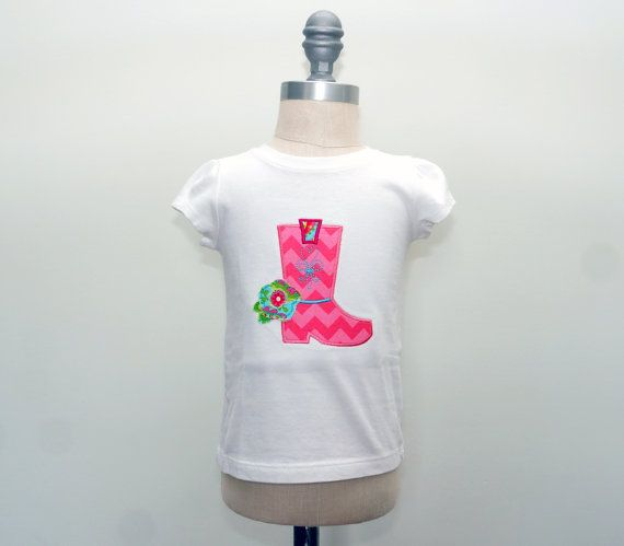 Girls Cowboy Boot Applique Shirt, Pink Chevron, Western Birthday Party, Personalizable, Girls Boutique Clothes, Cowgirl Halloween Costume