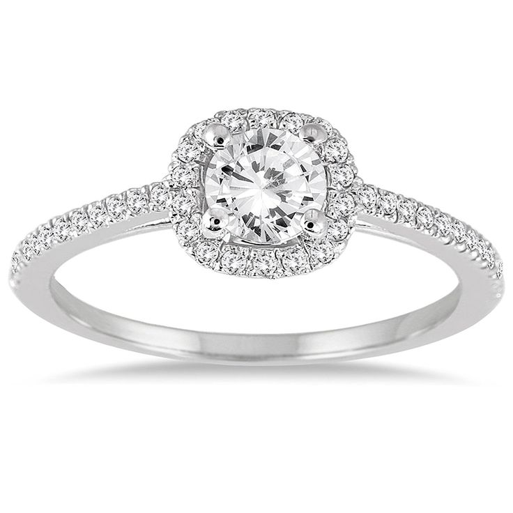 3/4 Carat Diamond Halo Engagement Ring in 14K White Gold *** Wow! I love this. Check it out now! : Engagement Rings