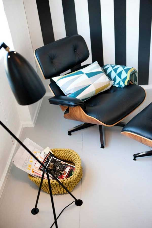 Interior:Comfy Reading Room With Zebra Wall Design Also Geometric Cushion In Genius Chair Completed With Cool Floor Lamp Minimal House Décor with Accented Style Walls
