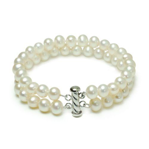 """Sterling Silver 2-Row White A Grade 7.5-8mm Freshwater Cultured Pearl Bracelet, 8"""" Amazon Curated Collection. $100.00. Made in China. Pearls may have been treated to improve their appearance or durability and may require special care.. No ultrasonic"""