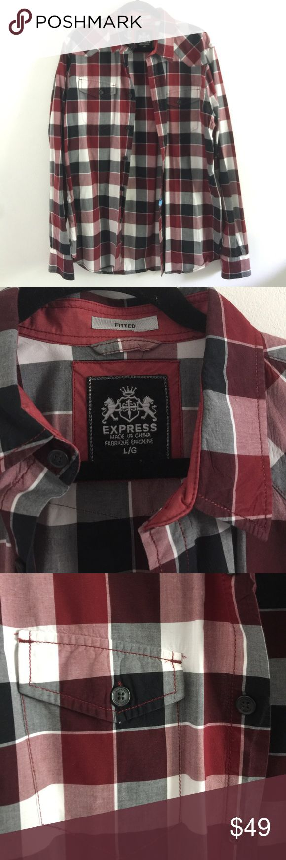 Express men's fitted large plaid button up top Express men's large plaid shirt. This fitted shirt is ready for your next plaid lover! Looks brand new and freshly cleaned from the dry cleaners. Express plaid shirt has no tears, snags, or holes with all button attached! Express Shirts Casual Button Down Shirts