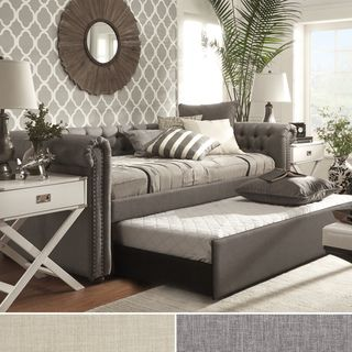 dhp sophia grey linen upholstered daybed and trundle shopping