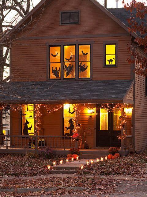 Silhouettes à disposer derrière les fenêtres,  sur le perron ou dans la maison pour Halloween