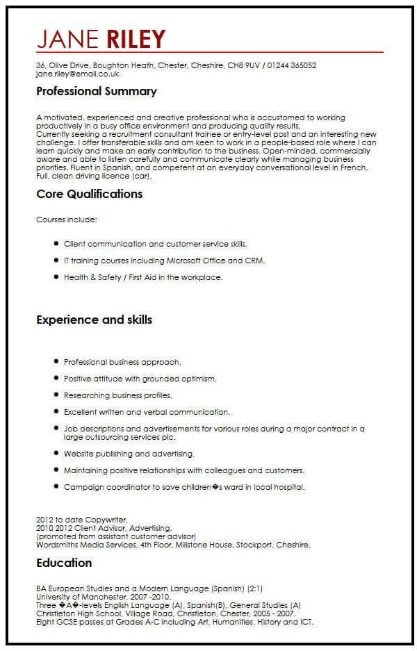 Cv Example With Transferable Skills Myperfectcv Resume Skills