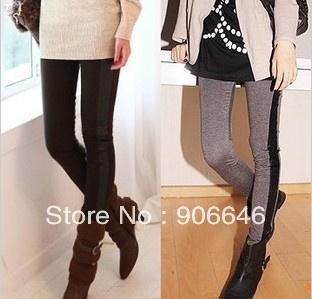 mais recente moda caprisimitação de couro preto slim fit leggings mulher trecho calças apertadas jogo de moda