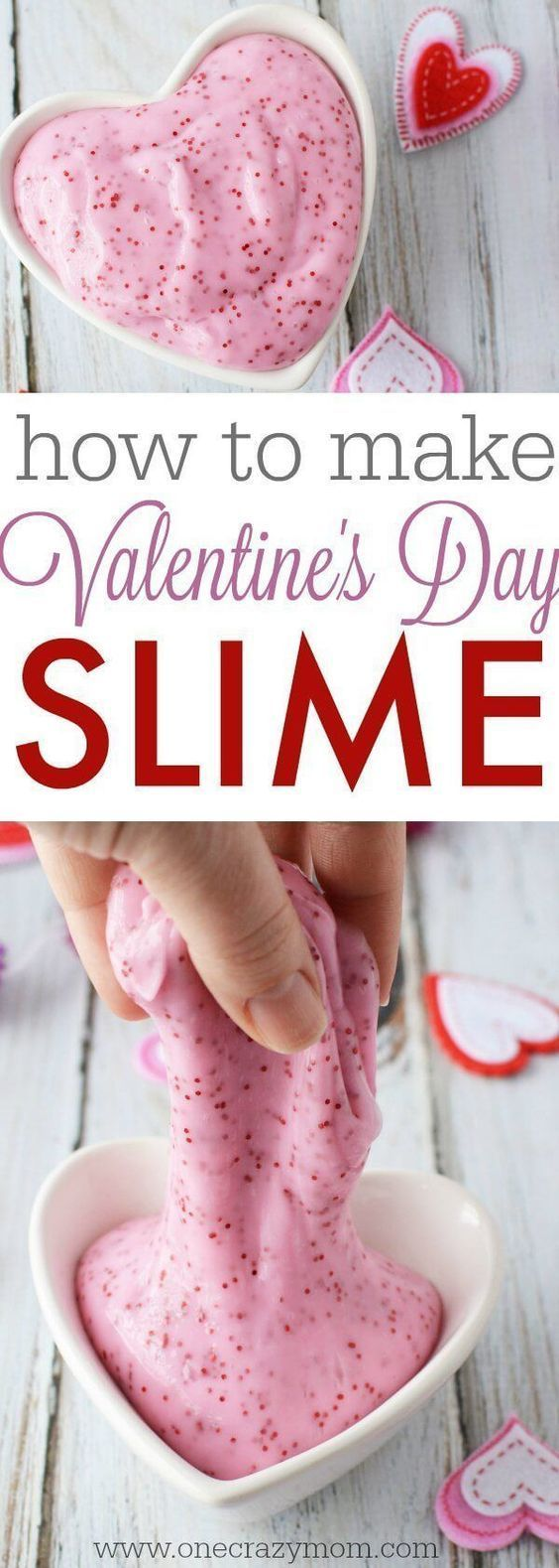 Make this easy slime recipe with your kids. They will love Valentine's Day Homemade Slime. DIY slime is a fun alternative to handing out candy and treats! #valentinesday #valentines #slime