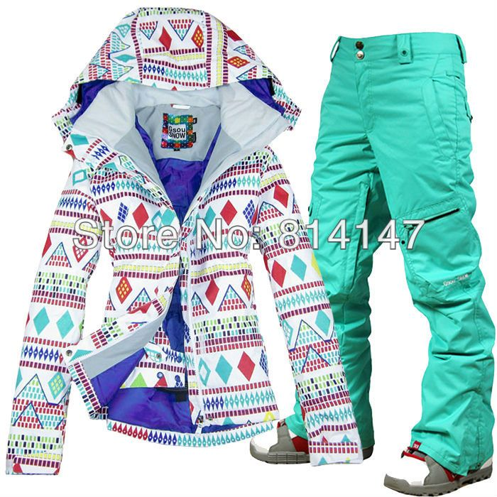 free shipping 2014 women's ski suit snowboarding set ladies snow ensemble ski wear white jacket and pants ski suit in women  $210.00