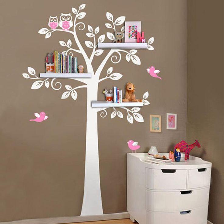 Großer Baum mit Eulen und Vögeln süße Kinderzimmer Wandkunst Aufkleber Aufkleber abnehmbare Vinyl Aufkleber für Kinder Schlafzimmer Dekor