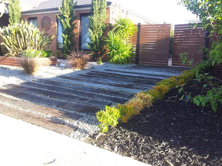 Transform your yard. Merbau gate, planter box and railway sleeper driveway. - JL Timber Solutions, FencingConstruction, Doreen, VIC, 3754 - TrueLocal