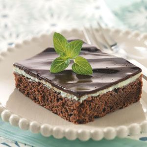 Makeover Mint Layer Brownies    This slimmed-down recipe is divinely decadent and makes a great meal finale!