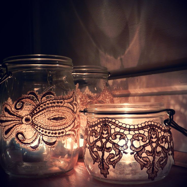 Art Nouveau Wedding Decor: Glass Storage Jars Wrapped with Vintage Lace Used as Candle Holders, by Jack and Lavender.     Perfect as part of a candle centrepiece for a vintage wedding or for shabby chic home decor.